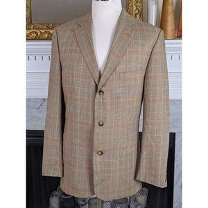 Burberry London Terry-R Tan Plaid Wool Blazer L